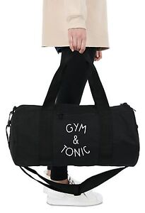 Gym & Tonic Barrel Gym Bag Duffel Fitness Slogan Yoga Weightlifting Spin Funny