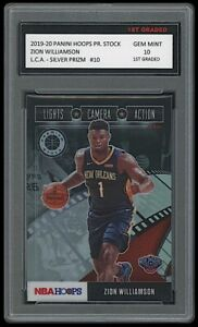 ZION WILLIAMSON 2019-20 PANINI HOOPS SILVER PRIZM 1ST GRADED 10 ROOKIE CARD RC