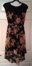 Sheer Vintage Rose Lace Tea Dress Size 10 Split Length Summer Hippy Boho