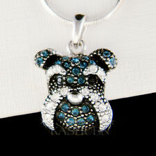 ~Schnauzer Terrier dog made with Swarovski Crystal Miniature Puppy Cute Necklace