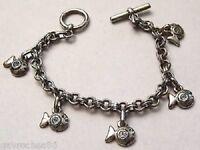 bracelet bijou rétro couleur argent pampilles poissons strass état neuf A12