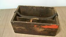Early Antique Primitive Wood Tool Box Divided Nail Bin Box Tote Carrier Ammo Box