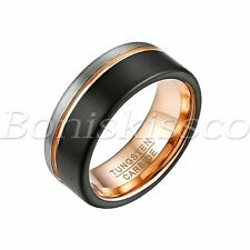 Two Tone Tungsten Carbide Ring Anniversary Wedding Band Comfort Fit Gift For Men