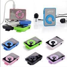 Mini Hot Mirror Clip USB Digital Mp3 Music Player Support Up 8GB SD TF Card USB