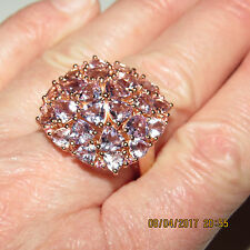 GENUINE PINK AMETHYST STATEMENT RING SIZE9 IN 14K ROSE GOLD OVER STERLING