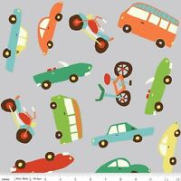 Wheels 2 Cars Bicycle bus C5040 Gray Riley Blake 100% Cotton Fabric Remnant 34""