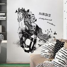 Wandtattoo Wandsticker Pferde Tiere Pony Hof schwarz Mädchen Frau Aufkleber Kind