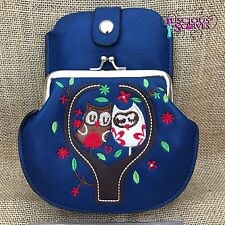 Navy Owl Purse Small bag with Smart Phone Spectacles  Holder Long & Short Straps