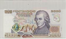 5000 Schilling-Banknote Österreich, W.A.Mozart 4.11.1988 C682402A Eiamaya