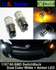 2Pcs 1157 60SMD Dual Color SwitchBack White Amber Turn Signal Light LED Bulbs