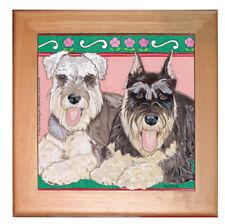 "Schnauzer Miniature Schnauzer Dog Kitchen Ceramic Trivet Framed in Pine 8"" x 8"""