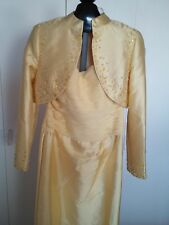 JOVANI LADIES PALE YELLOW FULL-LENGTH GORGEOUS STRAPLESS GOWN-8-LS BEADED JACKET