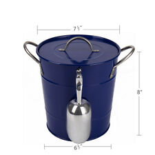 T586 Blue 4L Metal Double Walled Ice Bucket With Lid And Scoop