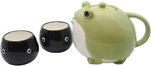 Tea Pot Cup Set San Art Frog Tadpole Green Black Pottery Ceramics