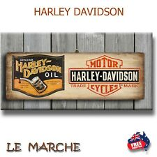 "HARLEY DAVIDSON ""Genuine Oil"" Wooden Rustic Plaque / Sign (FREE POST)"