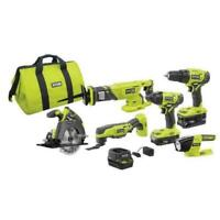 Ryobi 18-Volt ONE+ Lithium-Ion Cordless 6-Tool Combo p1819 (2) Batteries,Charger