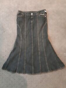 Bisou Bisou Denim Long Skirt Fishtail  Bodycon Maxi Jeans Elegant Skirts *New*