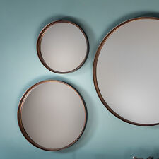 Greystoke Set of 4 Bronze Round Wall Overmantle Metal Antique Style Mirrors 12""