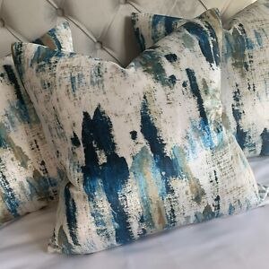 "Luxury Cushion Cover 18"" Lagoon Designer Fabric Velvet , Teal & Navy Decor"