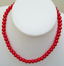 """24"""" 8mm Crimson Red Glass Pearl Necklace with Silvertone Lobster Clasp D127"""