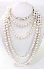 "Women's 80"" Long Opera Strand White Circle Freshwater Pearls 9.5mm"