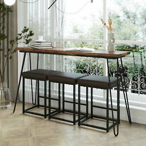 Hot Table Set 4 Piece Bar Stools Dining Kitchen Furniture Counter Height Chairs