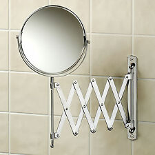 BATHROOM EXTENDING ARM SHAVING MAKE UP COSMETIC WALL MOUNTED EXTENDABLE MIRROR