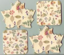 4 Longaberger Original Botanical Fields Coasters 2 Leaf Shape 2 Square New