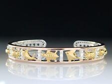 3 Tone Turtle Sea life Rose Gold & sterling Silver Bangle Bracelet Peter Stone