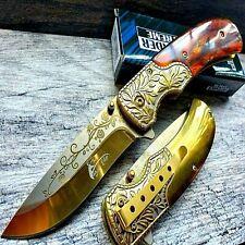 """8.5"""" Gold Spring Assisted Open Folding Blade Pocket Knife Belt Clip Gold Handle"""
