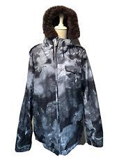 BURTON Mens Dry Ride Snowboard Jacket White Collection Sz L Hooded Cargo Ski