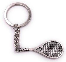 Tennis Schläger Sport Schlüsselanhänger Anhänger Silber aus Metall