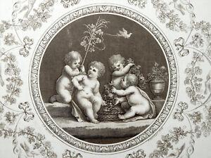 F. BARTOLOZZI - CIPRIANI - PERGOLESI - 1780 - Putti con Frutta ORIGINALE ANTICA