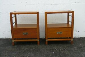 Mid Century Modern Pair of Nightstands Side End Tables by Hickory 2423