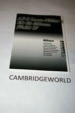 Nikon 17-35mm F2.8D If Zoom Nikkor Lens Instruction Manual Guide Book Original