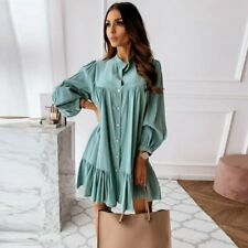 A-line Dress Long Sleeve Women Vintage Button Ruffled Front Stand Collar Casual