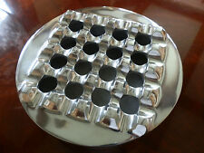 "POLISHED METAL HANDCRAFTED LARGE 7.5"" ROUND GRID  CIGAR ASHTRAY"