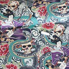 Alexander Henry Fabric Zen Charmer Tea/Multi PER METRE Flower Goth Snake Skull V