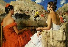 Oil painting presenciando una corrida de toros witnessing a bullfight women lady