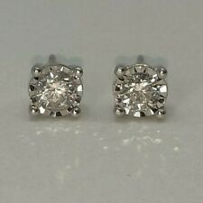 Natural Diamond 0.45 CT Solitaire Earring in 10K White Gold