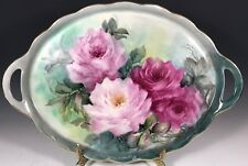 """16"""" LARGE HAND PAINTED TRAY ROSE"""