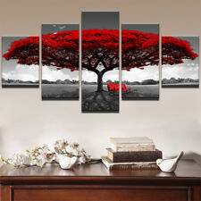 Red Tree Art Scenery Painting 5 Piece Canvas Print Wall Poster Art