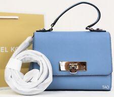 Michael Kors Callie XS Crossbody Bag Top Handle Handbag Leather Sky Blue New NWT