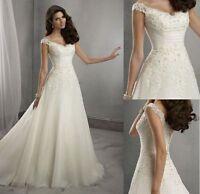 New Stock Elegant White/ivory Wedding dress Bridal Gown size 6-8-10-12-14-16