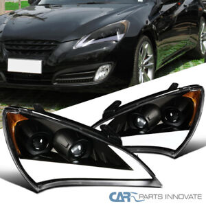 10-12 For Genesis Coupe Black LED DRL & Sequential Signal Projector Headlights