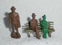 "Vintage Lead Minatoy ""Man And Woman On Bench & Man Standing"" Excellent Cond. F/S"
