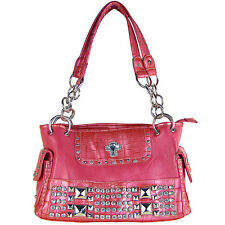 HOT PINK RHINESTONE CROSS LOOK SHOULDER HANDBAG COUNTRY WESTERN BLING PURSE