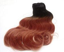 Haarverlängerung ECHTHAAR TRESSE 30 cm schwarz Spitze rotbraun ombre gewellt NEW