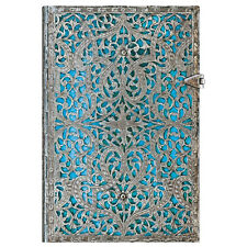 New Paperblanks JOURNAL Silver Filigree Maya Blue LINED Midi 7 x 5 Book Write