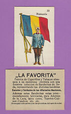 LA FAVORITA (CANARY ISLANDS) - SCARCE SILK FLAGS & SOLDIERS CARD - ROUMANIA